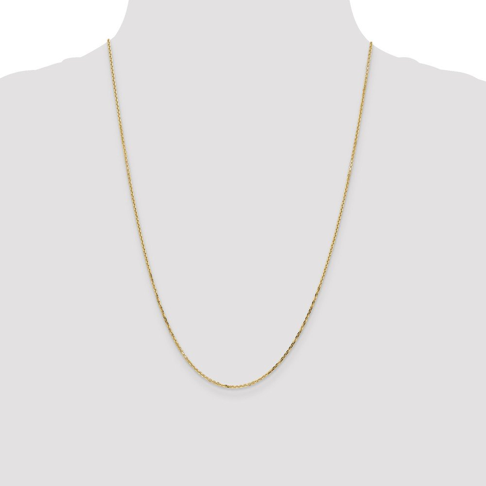 14kt Yellow Gold 1.40mm D//C Cable Chain; 24 inch