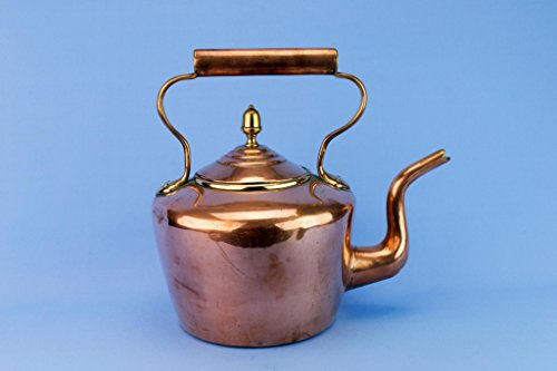 Large Copper Kettle Tapered Victorian Burt Brothers Antique English Late 19th Century Brass Hot Stove Foreplace by Burt Brothers