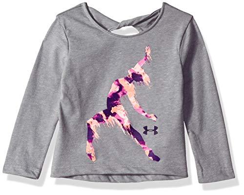 Under Armour Girls' Baby Long Sleeve Graphic Tee, True Grey Heather Dancer, 18M (Dancer Long Sleeve Shirt)