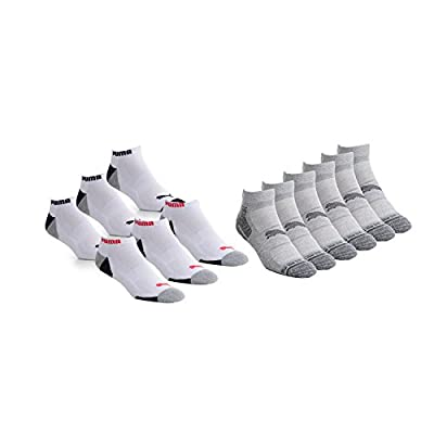Puma 6-Pack No Show Mens Socks Stay-Up Cuff and Heel Cushioned Arch Support