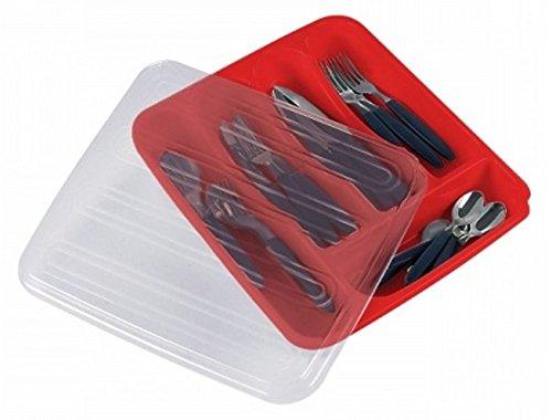 41f7yS4VV0L Besteckkasten aus Kunststoff mit Deckel, Besteck- und Utensilienhalter, Organizer, 5 Fächer, Besteckkorb mit Deckel…