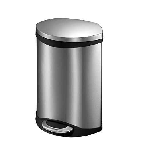 EKO Shell 6 Liter / 1.5 Gallon Semi-Round Step Trash Can, Brushed Stainless Steel Finish