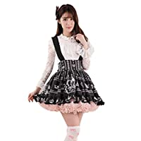 Hugme Black Polyester Lace Crown Printed Lolita Suspender Skirt
