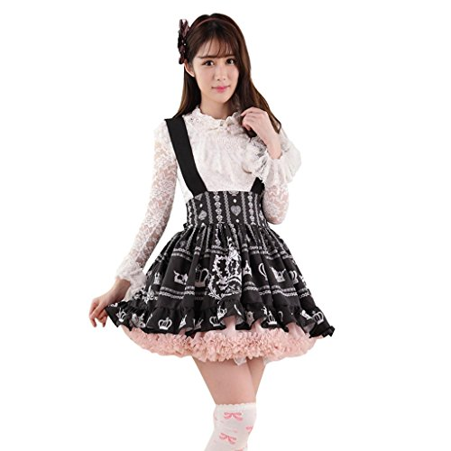 Hugme Black Polyester Lace Crown Printed Lolita Suspender...