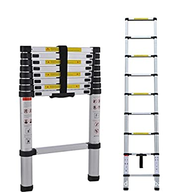 1stモール 耐荷重約150kg 脚立 梯子 コンパクトに持ち運び可能 重量約6.8kg アルミ伸縮はしご 最大2.6m ST-26M