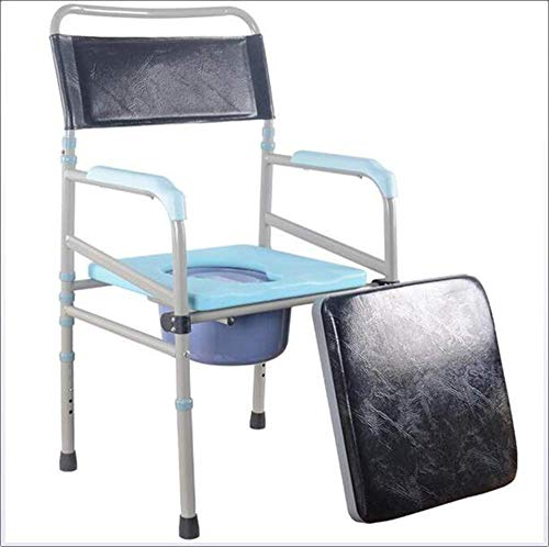 LQUIDE Portable Bedside Commodes Adjustable Height Shower Toilet Seat Deluxe Commode Chair Medical Aid,Comfortable armrest Aluminum Transport Chair