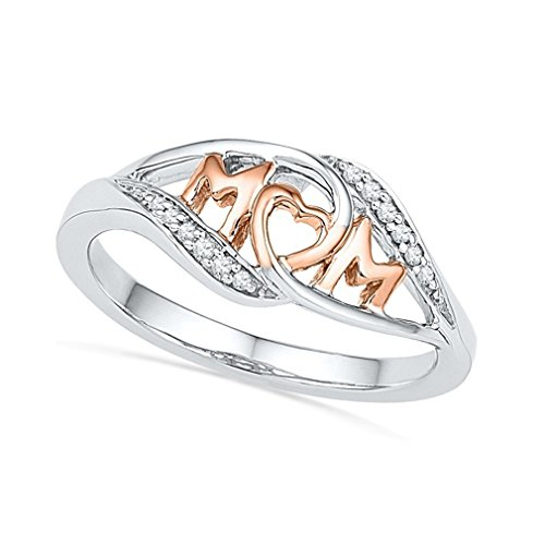 Dolland Womens Rose Gold Plated Heart Love Mom CZ Ring (Sizes 6-10),6#