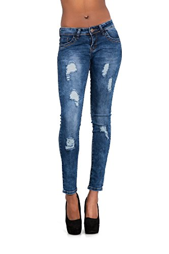 LustyChic - Vaqueros - para mujer Blue Jeans With Frayed Rips