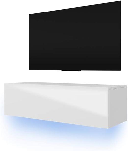Selsey Lana – Fernsehschrank/TV-Lowboard mit LED Modern Hängend 140 cm  (Weiß Matt/Weiß Hochglanz) 140 x 40 x 34