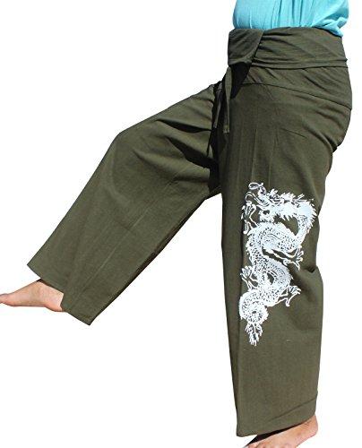 RaanPahMuang Cotton Asian Fishermans Pants Tattoo Dragon Print, Medium, Dark Green