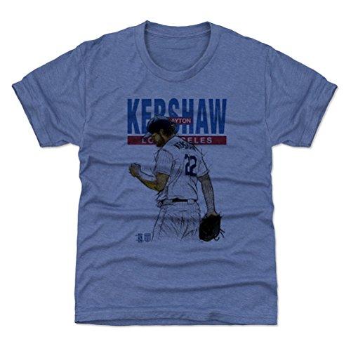 500 LEVEL Clayton Kershaw Los Angeles Baseball Youth Shirt (Kids Medium (8Y), Tri Royal) - Clayton Kershaw Sketch B