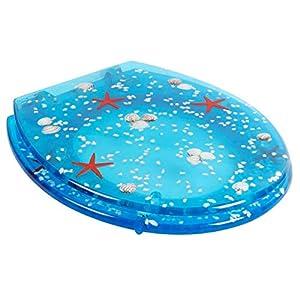 WC Sitz Muschel, Seestern Blau mit LED Beleuchtung