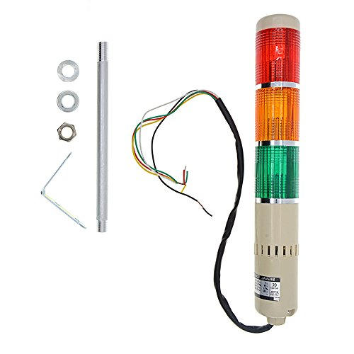 YXQ DC 24V Industrial Signal Warning Red Green Yellow Light Tower Lamp Stack Alarm with Buzzer, 5W Bulb