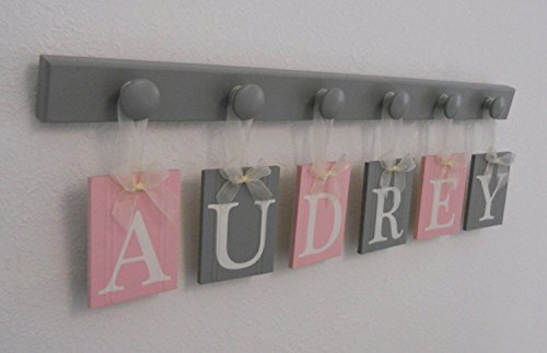 Baby Nursery Wooden Wall Letter Sign - Set Includes Wooden Pegs in Gray and Personalized Hanging Ribbon Name Tags Painted Light Pink and Grey - Shabby Pink Cottage