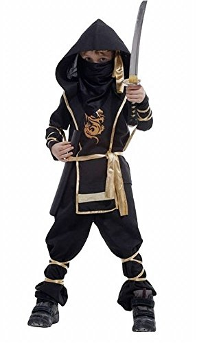 POJ Japanese Ninja Costume [ 5 / 6-7 / 8US Size Black for Kids ] Japan Cosplay Halloween (6-7US)