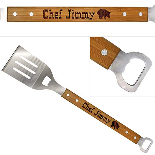 Custom Engraved BBQ Spatula Tool with Bottle Opener - Personalized Barbecue Grilling Accessory Gift with Long Wood Handle for Dad, Fathers Day, Spouse, Grill