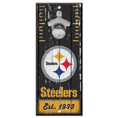 NLF Wood Sign Bottle Opener NFL: Pittsburgh Steelers