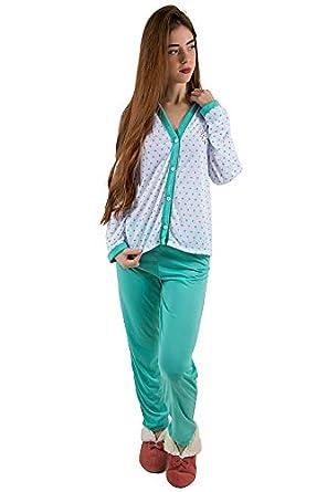 a7cf98db2 Pijama Longo Adulto Blusa Aberta Botões e Calça Verde  Amazon.com.br ...