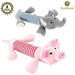 SunGrow 2 Plush Squeaky Puppy Toys - Dynamic Due Peppy The Pig ELO The Elephant Your Small Dog - Chewable Soft - Helps Maintain Healthy Teeth Gums - Satisfies Their Chewing Instinct