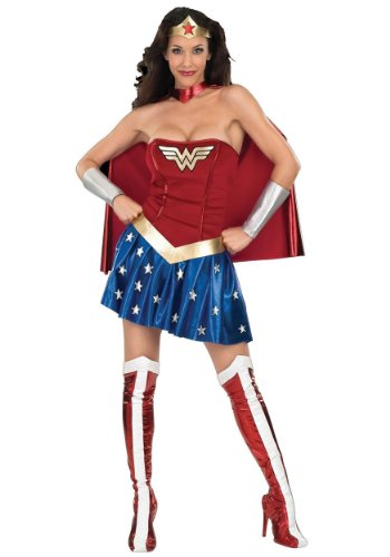 DC Comics Secret Wishes Deluxe Wonder Woman Costume, Blue/Red, Medium (6 -10)