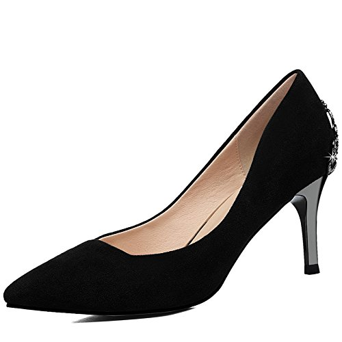 With Shoes Black The Wedding Shoes KPHY Decoration Heeled Shoes Asakuchi Match High 7Cm Metal Woman All Period And Single A Fine Autumn Spring Female Shoes A 04w1qTx4