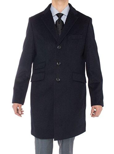 Luciano Natazzi Men's Cashmere Topcoat Modern Ticket Pocket Trench Coat Overcoat (48 US - 58 EU, Navy Blue) by Luciano Natazzi