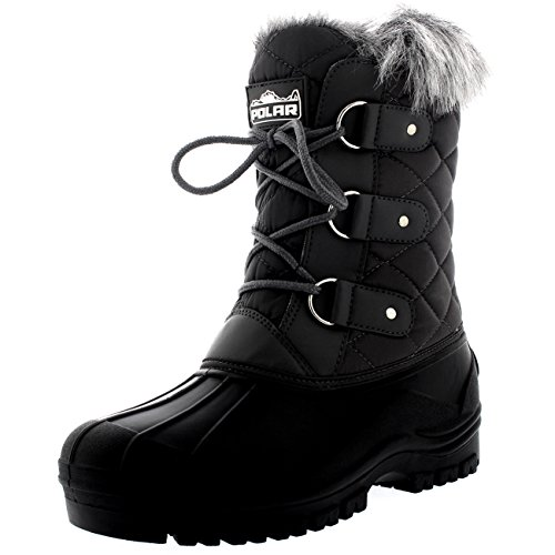 Polar Products Womens Mid Calf Mountain Walking Tactical Waterproof Boots - Gray - US9/EU40 - (Fur Lined Duck Boot)