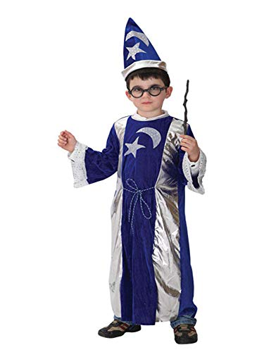 stylesilove Kid Boys Halloween Costume Party Cosplay Outfit Themed Party Birthdays Party (Wizard, M/4-6 Years) (Wizard Boys Kids Costume)