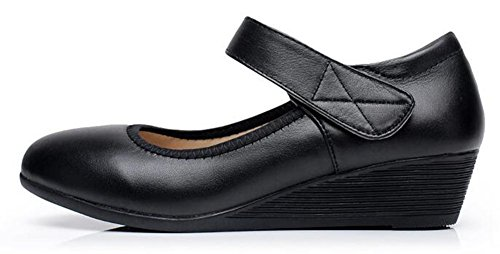 Chfso Femmes Doux Solide Bout Rond Bas Bas Velcro Bas Talon Mary Jane Chaussures Chaussures Noir
