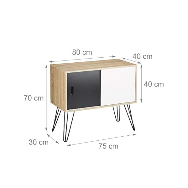 Relaxdays Commode retro design en bois et métal années 60 sideboard meuble rangement scandinave HxlxP: 70 x 80 x 40 cm…