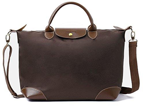 Crossbody Travel Beach Women Tote Waterproof Bags Bag Brown for Nylon BEKILOLE Women's Stylish 1q088Y