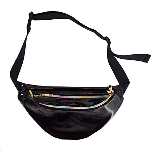 Dolores Womens PVC Hologram Fanny Pack Belt Waist Bum Bag Laser Travel Beach Purse, Black