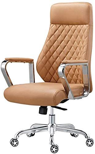 Silla giratoria/Silla de Oficina/Silla Boss Material de Cuero Suave para la Piel Respaldo ergonomico Adecuado para Estudio de Oficina (Marron) Improve