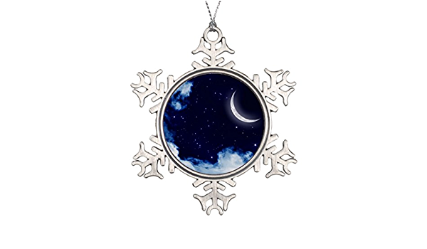 Amazon Com Pracy Large Christmas Tree Decorations Abstract Crescent Moon Fantasy Artwork Fairytale Moon Pewter Christmas Snowflake Ornaments Home Kitchen