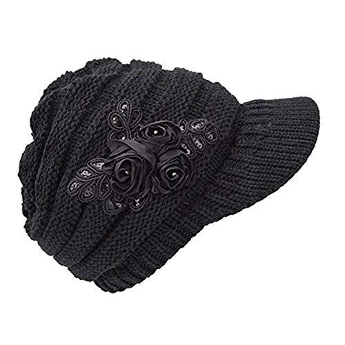 C-US Women Winter Warm Knit Hat Crochet Visor Brim Cap with Flower Accent (one Size, Black)