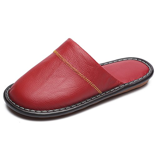 Leather Wooden Autumn Men Women Smelly Cowhide Floor Slippers Spring for Anti Summer Corium TELLW nX6qpF6