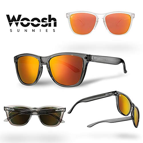 WOOSH Polarized Lightweight Sunglasses for Men and Women - Orange Lens & Clear Grey Matte Frame - Unisex Sunnies for Fishing, Beach and Outdoors ()