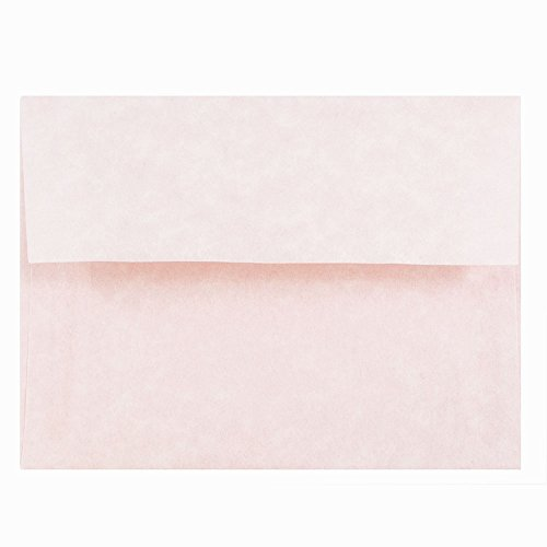 JAM PAPER A2 Parchment Invitation Envelopes - 4 3/8 x 5 3/4 - Pink Recycled - 50/Pack