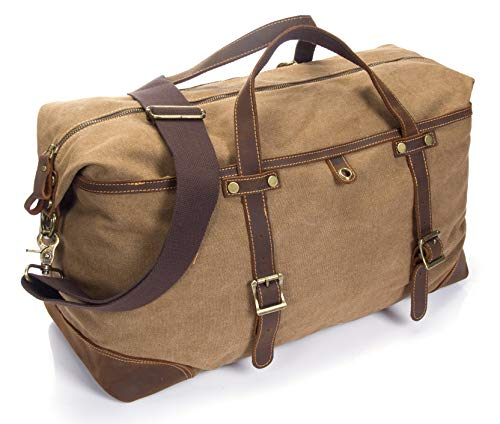Carry On Bag [Canvas and Leather Duffle] Large Overnight Bag for Men (Brown Weekender Bag) ()