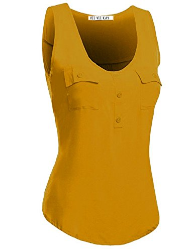 Shirred Front Shirt - ViiViiKay Women's High-Low Shirred Back Loose Fit Tank Top With Front Pockets 25_Mustard 3XL