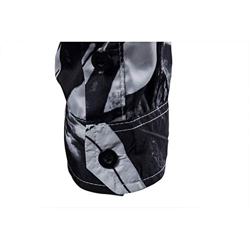 Pervobs Shirts for Men Spring Summer Casual Stand Collar Button-Down Long Sleeve Tee Shirt Tops Blouse(XL, Black) by Pervobs Men Shirts (Image #3)