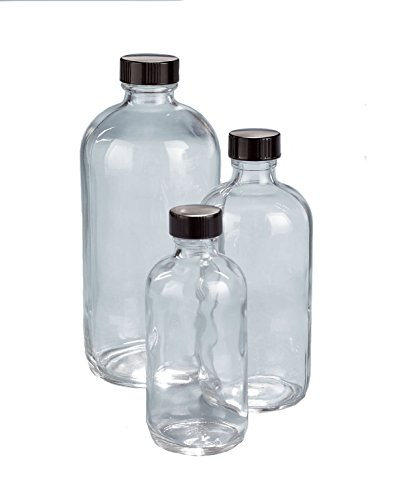 Boston 21 Bottle - Kimble 5110422C-21 Glass Boston Round Bottle with Cap, Pulp/Vinyl Liner, Clear, 125ml Capacity (Case of 160)