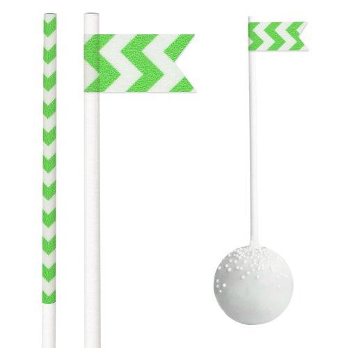 Dress My Cupcake DMC29968 25-Pack Party Cakepop Sticks DIY Kit, 4.5-Inch, Green Chevron