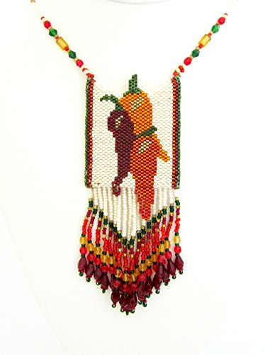 Beaded Chili Peppers Amulet Necklace (Chili Pepper Beaded Necklaces)