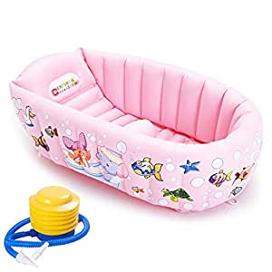 Inflatable Bath Tub Bathtub for Baby, Portable and Foldable Non Slip Mini Swimming Pool for for New Born Baby Infant Kids Boys Girls (Pink)