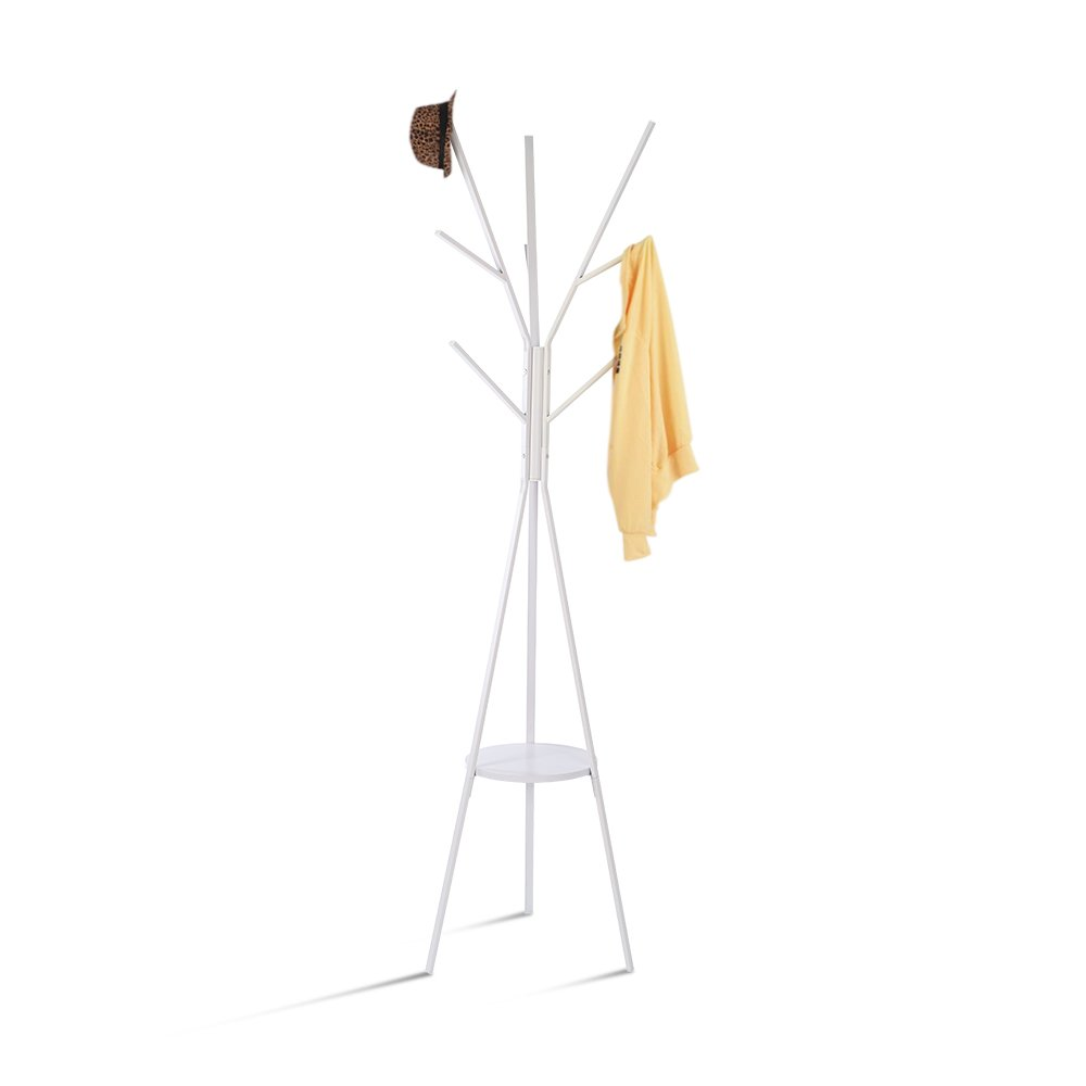 HOME BI Coat Rack Stand, Coat Hanger with 9 Hooks for Holding Jacket, Hat, Purse White