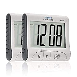 Ingleby Mini Portable Large Digital LCD Display Clock Loud Alarm Cooking Kitchen Timer Sport Stopwatches Magnetic with Stand -Battery Included