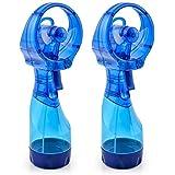 O2COOL 2 Pack Deluxe Misting Handheld Portable Misting Fan, Dark Blue