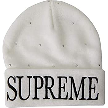 effab3e934443 Amazon.com  SupremeNewYork Supreme Studded Beanie White 100 ...
