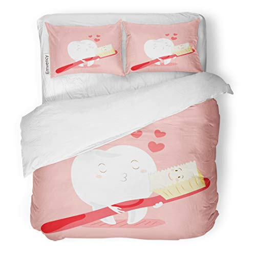 Semtomn Decor Duvet Cover Set Twin Size Red Cute Cartoon Teeth and Toothbrush Happy Valentine Day 3 Piece Brushed Microfiber Fabric Print Bedding Set Cover